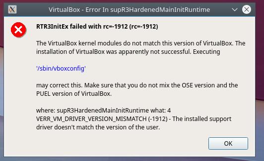virtualbox aggiornamento manuale ed errore RTR3InitEx