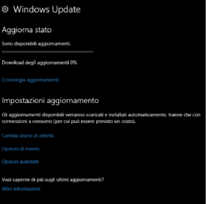 Windows Update bloccato a 0%